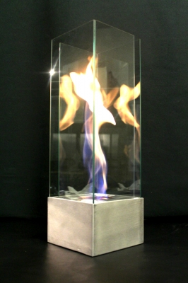 Portable aluminum fire in glass feature